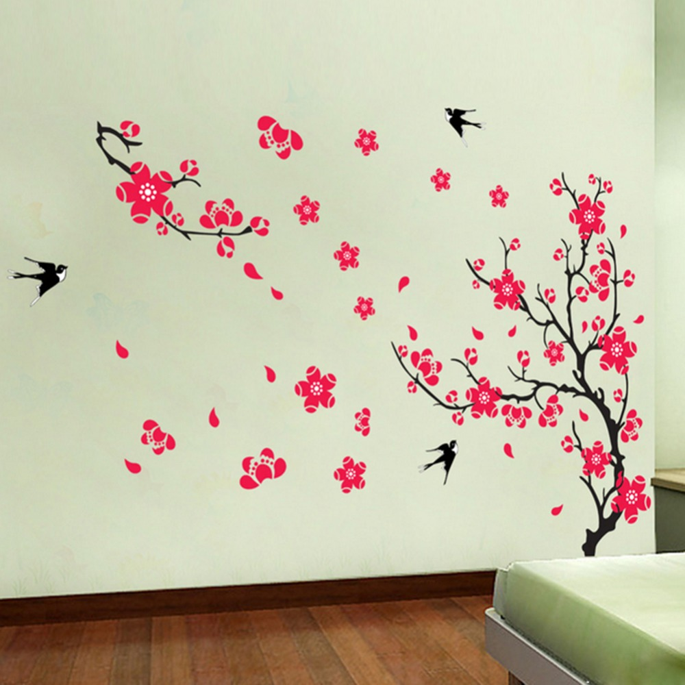 online get cheap swallow wall decal aliexpress com alibaba group stickers removable wall sticker decals murals home decor diy art plum flower swallows pattern new arrival