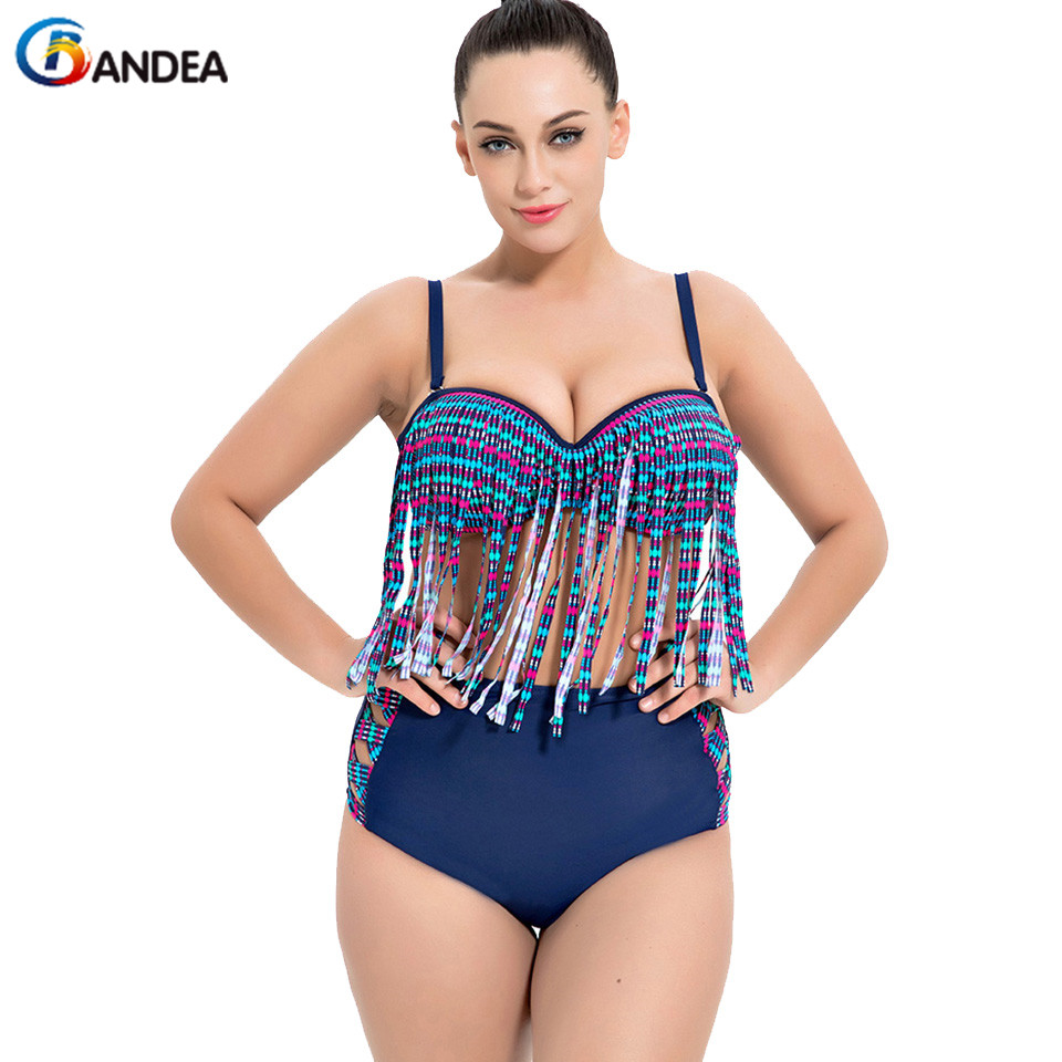 BANDEA Plus Size Swimwear Women High Waist Bikini Set Vintage Tassel Swimsuit Female Push Up Bathing Suit Beach Wear 2018 hot sale women ladies sexy retro padded push up tassel high waist plus size bikini swimwear swimsuit bathing