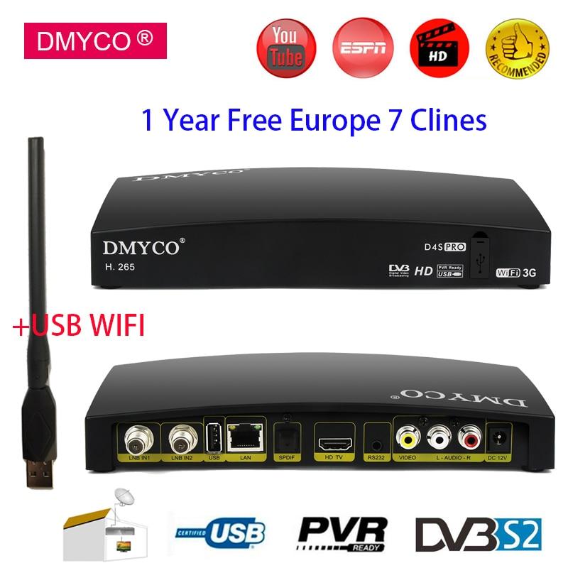[Genuine] DMYCO HD DVB-S2 Satellite Receiver D4S Pro AC3 LNB TV Tuner Support Power Vu Biss Key Clines Newcamd Youtube +USB Wifi