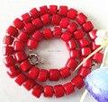 Caliente Del Envío nueva Hermosa Rare Natural 8-10mm Natural Mar Rojo Coral Collar 20.5 ''Joyería sp251