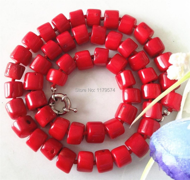 Hot Free new  Beautiful  Natural  Rare Natural 8-10mm Red Sea Coral Necklace 20.5'' Jewelry sp251