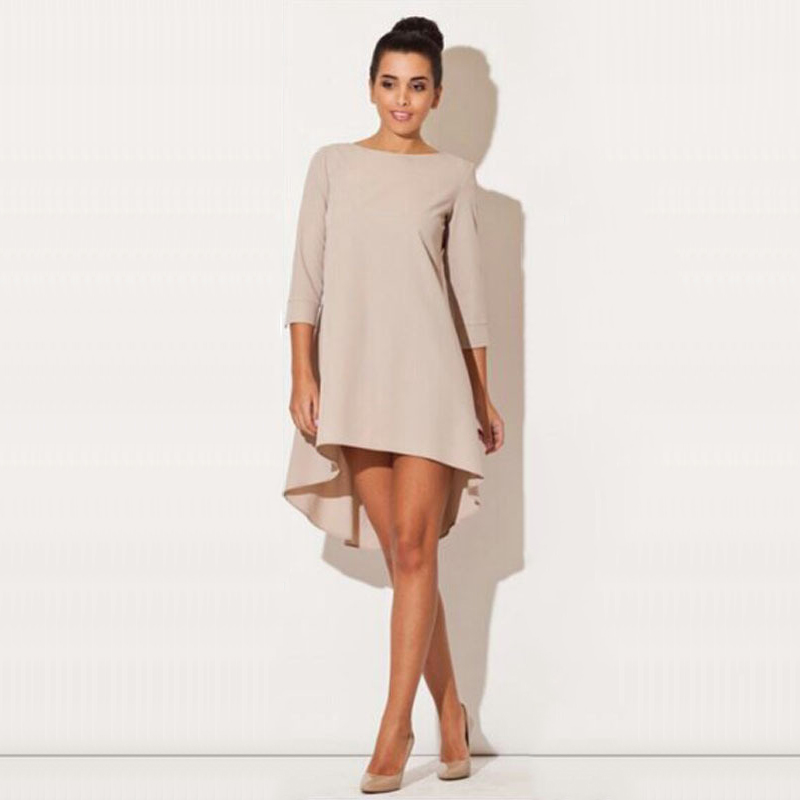 Fashion Women Dresses 2017 Sexy Loose Mini Irregular O-Neck Dress Summer Casual Elegant Dresses Plus Size LJ8789X 2