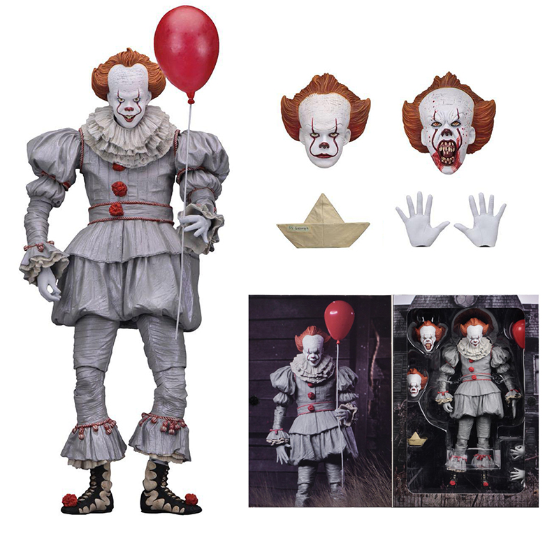 18cm 7inch Neca Stephen King's It Pennywise Joker Clown PVC Action Figure Toys Dolls Halloween Day Christmas Gift (1)
