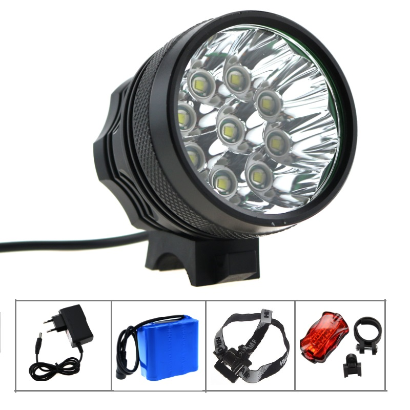 ФОТО Bike Light Headlamp 9T6 15000LM 3 Mode with 8.4v 12000mah 18650 battery pack +charger Cycling Bicycle flashlight 9*Cree XM-L T6