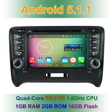 Quad Core HD 1024*600 Android 5.1 Car DVD Player for Audi TT 2006 2007 2008 2009 2010 2011 2012 with GPS BT WiFi Radio