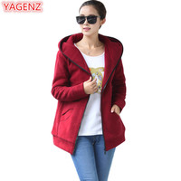 YAGENZ Fashion Womens Cardigan Hooded Tops Autumn Winter Large Size Womens Clothing Cotton Clothing Hooded Coat