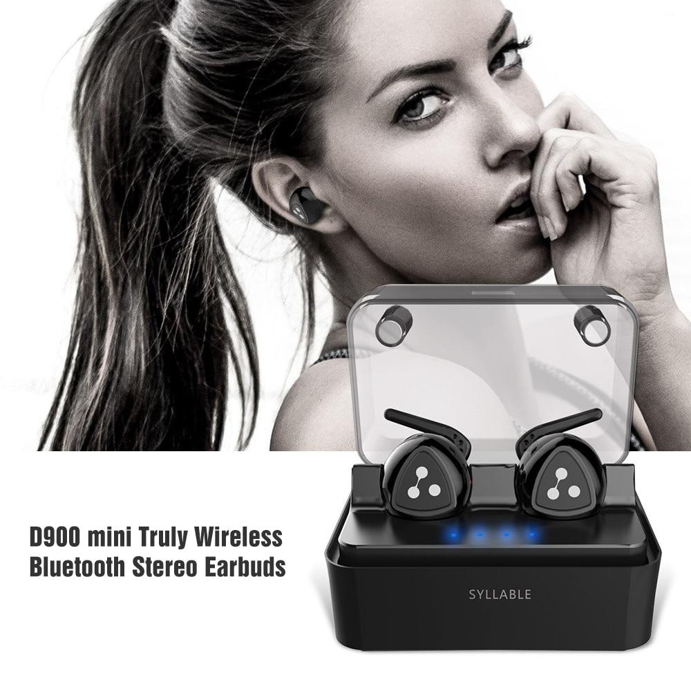 100% original Syllable D900 Mini Earphone Bluetooth Stereo Wireless Earphone Bluetooth Headset Handsfree Mini Earbud with mic