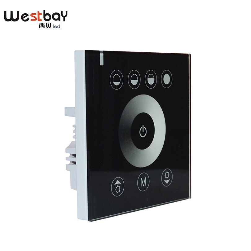 Interruptor do dimmer do diodo emissor de luz do painel de toque de westbay em 12 v-24 v, 144 w 12a ou 288 w 6a interruptor de alimentação ligar/desligar controlador claro ajustável