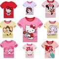 2-8 T Meninas T Shirt do Verão de Manga Curta Dos Desenhos Animados Olá Kitty Cute Tops Pullovers T-Shirt Dos Miúdos Roupas KT Gato Rosa Rosa Vermelha