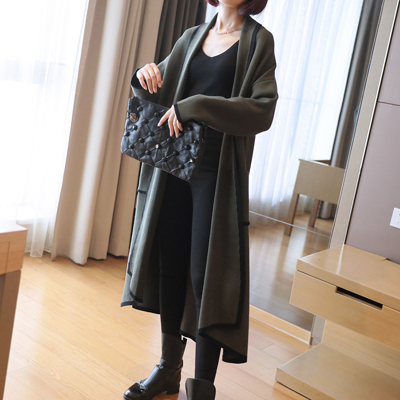 Tricoté Long À Chaud Tricot Noir Cardigans Coréenne Lâche Longues bourgogne army Femmes 2018 Manteaux Pull Épais Green Style kaki Manches Manteau 0qqpdg
