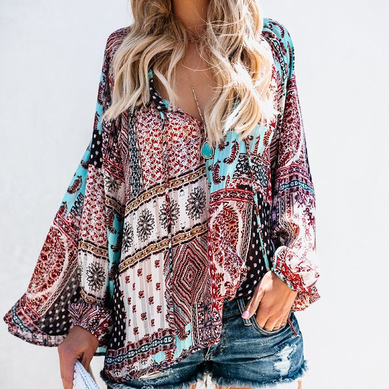 Autumn Patchwork Print Women Chiffon   Blouse     Shirt   V-Neck Long Sleeve Female Casual Plus Size   Blouse   Blusas Mujer De Moda