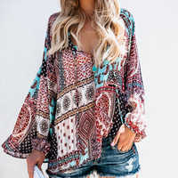 Autumn Patchwork Print Women Chiffon Blouse Shirt V-Neck Long Sleeve Female Casual Plus Size Blouse Blusas Mujer De Moda
