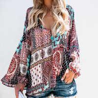 Blusa De chifón con estampado De retazos De otoño para Mujer, blusa informal De manga larga con cuello en V, De talla grande para Mujer, De Moda