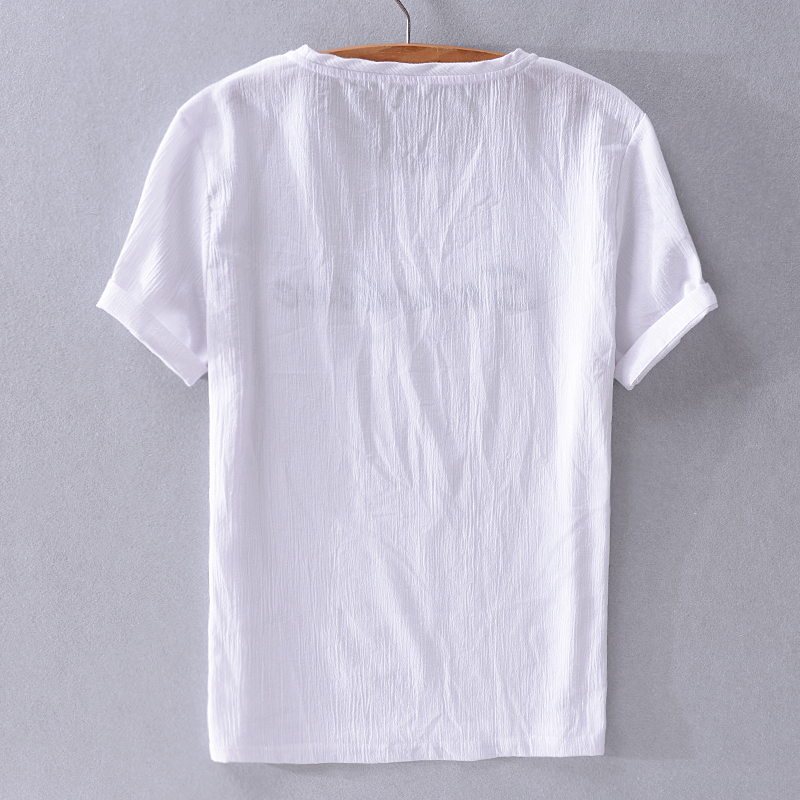 Summer brand t shirt men short sleeve linen and cotton blue t-shirt mens fashion casual round neck tshirt male tops camisa