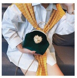 Image 4 - Kadın kadife inci çanta Vintage kadife kalp tasarım akşam çanta düğün gelin debriyaj kadife çanta çanta