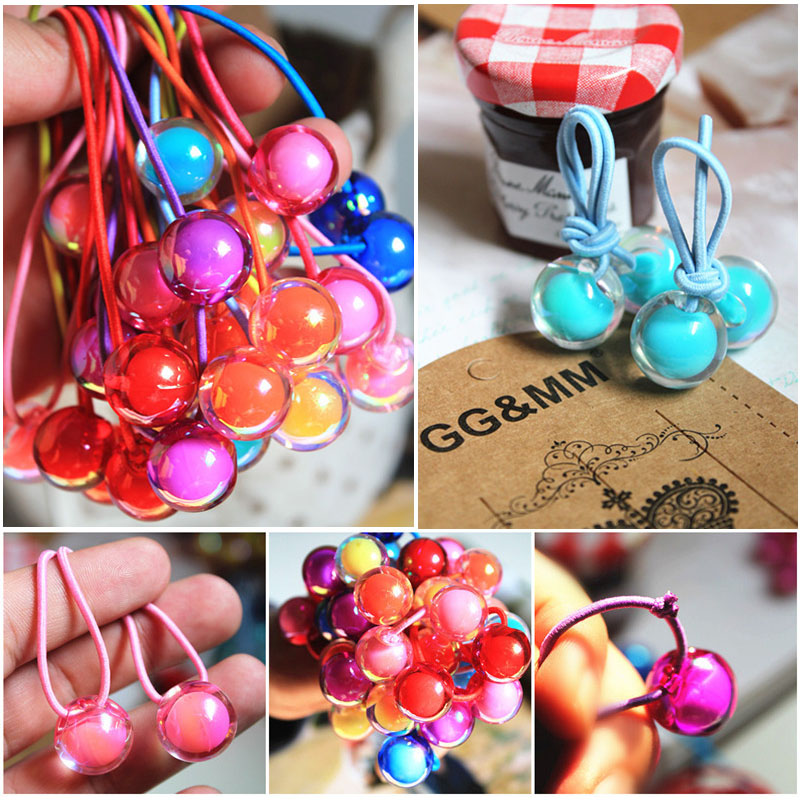 New Rainbow Ball Kids Elastic Hair Bands Korean Transparent Ball Ponytail  Holder Rope Headbands Kids Girls Hair Accessories 62662ddcb14