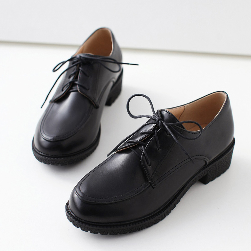 South Korean sweet style comfortable round toe Oxford shoes lace-up platform black white blue purple pink med with women shoes рубашка в клетку dc south ferry 2 south blue