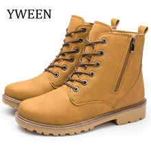 YWEEN New Arrive Winter Mens Boots Thick Sole Patent Leather Men Warm Fur Shoes