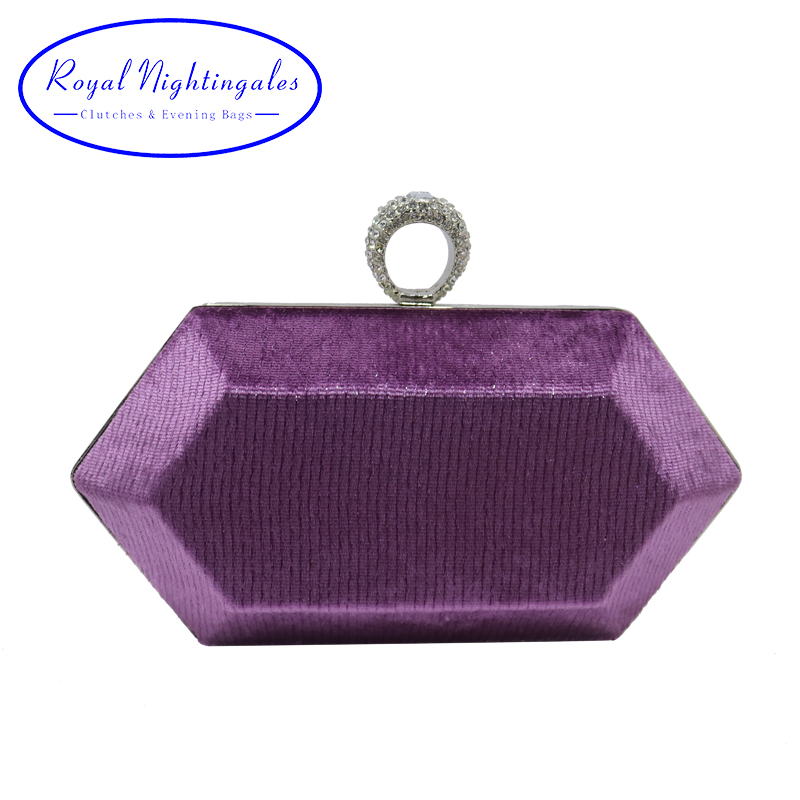 Royal Nightingales Mini bague embrayage sacs à main velours violet embrayage sacs de soirée et sacs à main pour les femmes fête bal