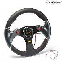 New 320MM Yellow PVC Sport Spoke Car Racing Steering Wheel Carbon Firbre Horn Button EP FXP06OM