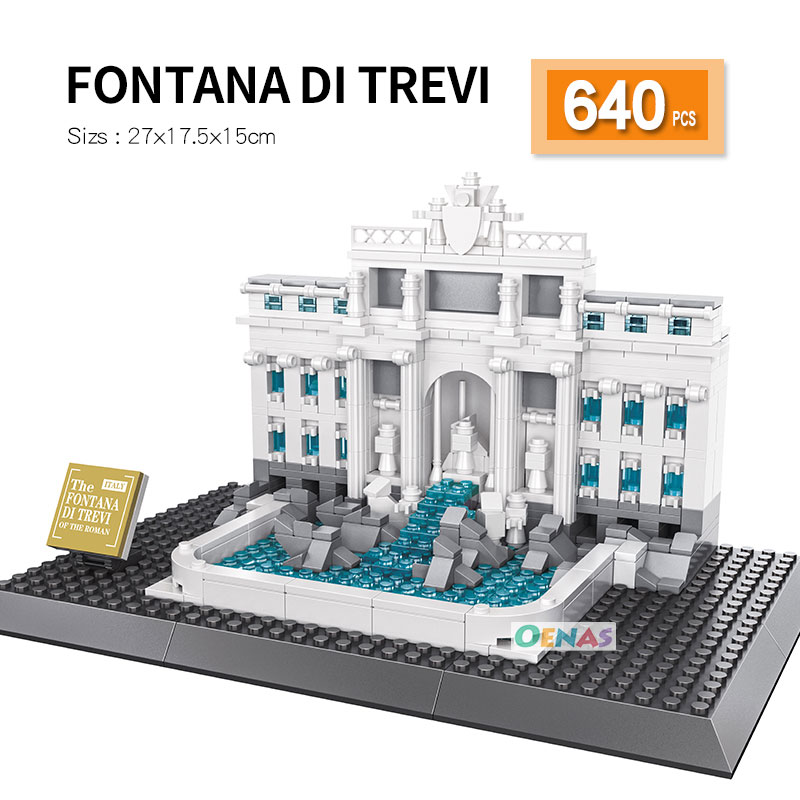 Compatible LegoED Architecture Rome Trevi Fountain Landmark Building Block Assembled Construction Bricks Kids Toy Children Gift