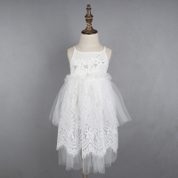 Girls White Princess Lace TUTU Dress Summer Baby Cute Suspender Dresses Lovely Party Dress Free Shipping