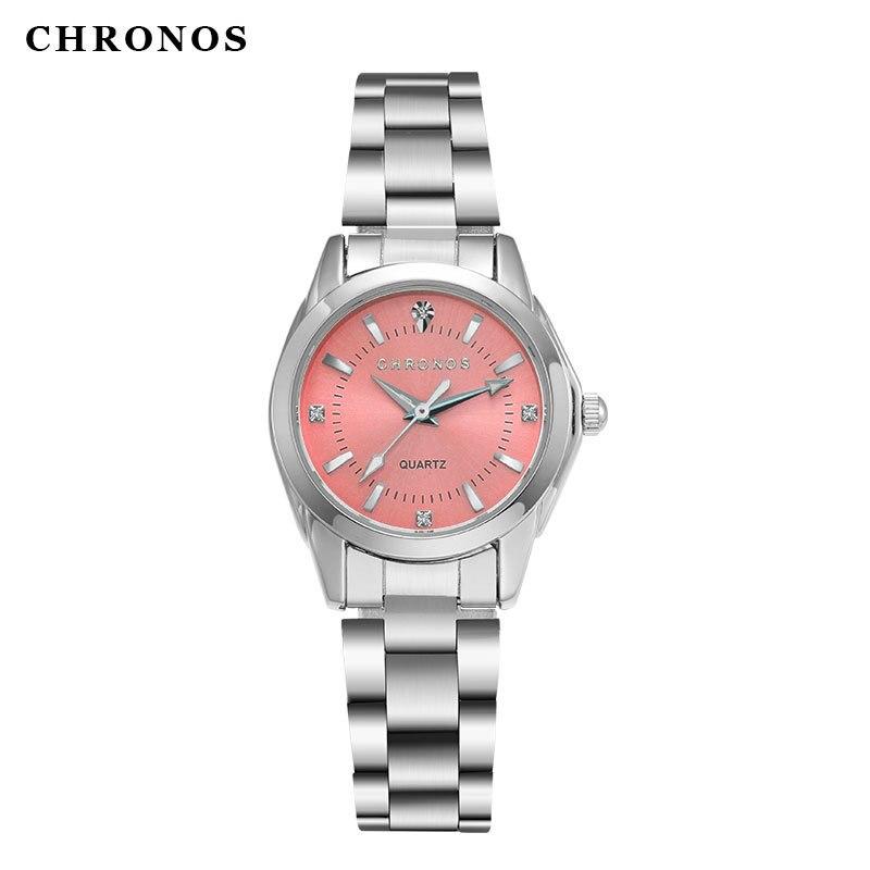 цена CHRONOS Brand Silver Women Watches 2017 Montre Femme Ladies Bracelet Quartz Wristwatches Clock Hodinky Cceasuri Relogio Feminino