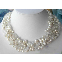 Charming Real Pearl Jewellery,5Rows White Crystal,Rice Freshwater Pearl Necklace,Handmade ,Perfect Women Wedding Gift