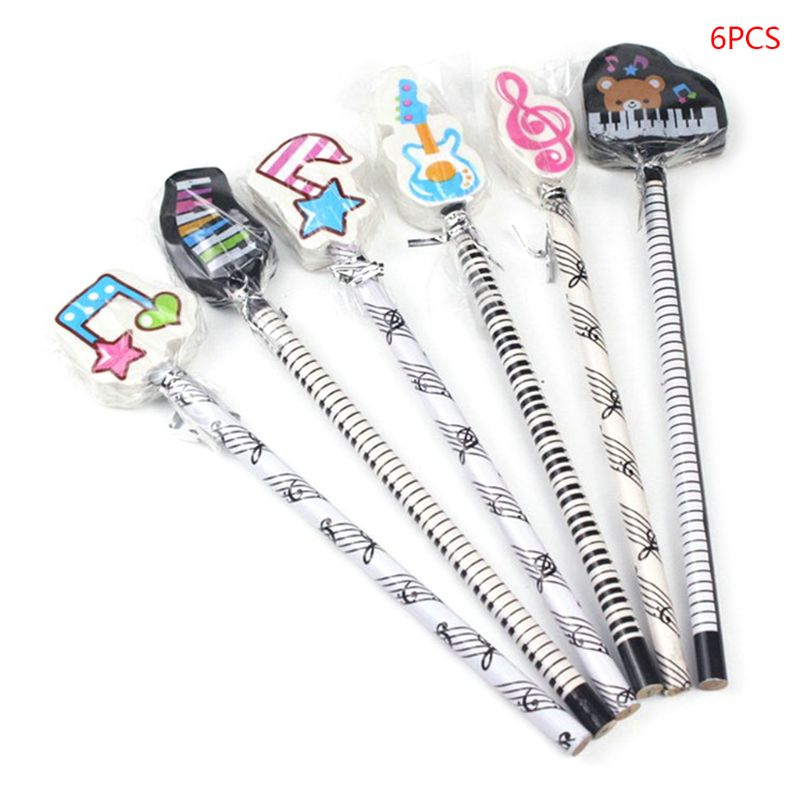 60 Music themed pencils with erasers on top party pack Music Themed Stationery