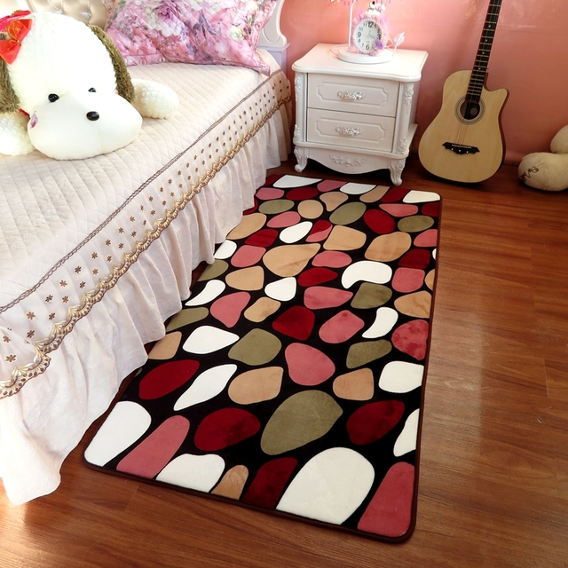 Multi Color Stone Pattern Large Size Bed Mat Rugs Floor Carpet Bedside Anti