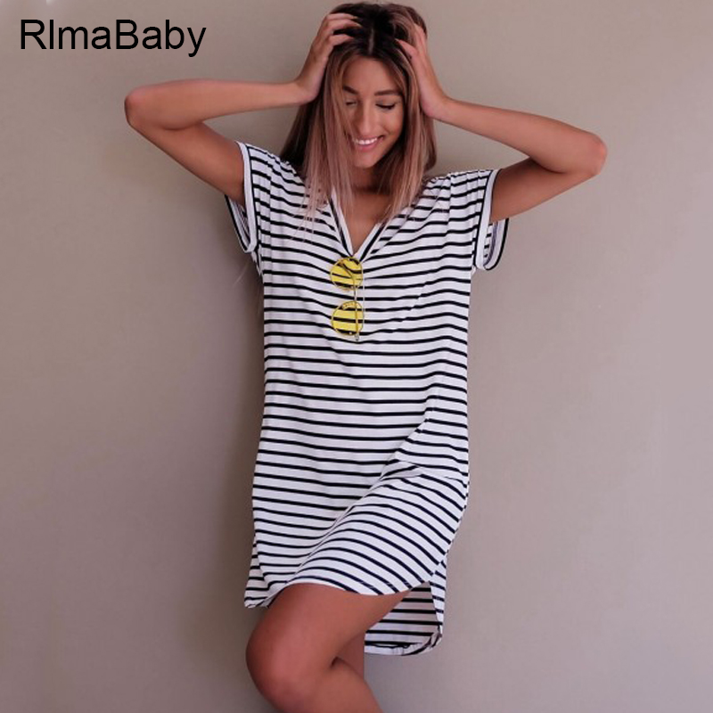 Rlmababy Streetwear Striped T Shirt Dress Casual Neck