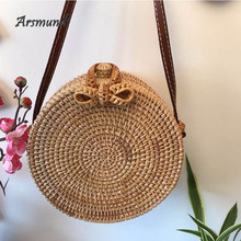 Arsmundi Summer Hand Woven Bag Round Vintage Straw Butterfly buckle Bohemia Style Satchel Wind Beach Circle Shoulder