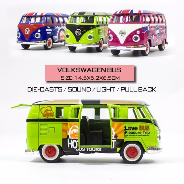 Escala 1:32 volkswagen bus carros miniatura 1/32 tire hacia atrás de metal car toys for children
