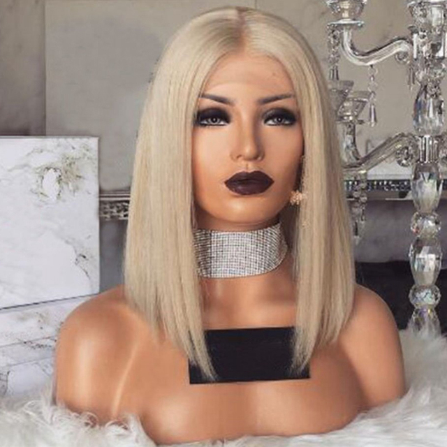 SimBeauty Platinum Blonde Bob Wig Peruvian Lace Front Human Hair Wigs For Women Remy Hair Straight Pre Plucked Hairline Full End