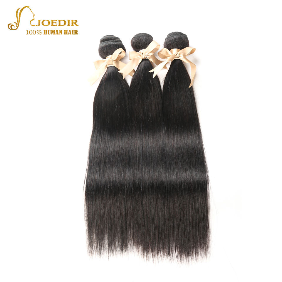 Joedir Peruvian Hair Weave Bundles Human Non-Remy Straight Hair Weaves 3 Bundles Natural Color 8-26 Wet Wavy Hair Extensions