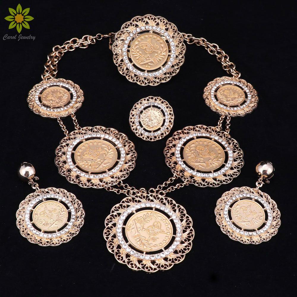 Fashion Jewelry Sets Dubai Gold Color Africa Nigeria Women Costume Jewelry  Retro Bridal Wedding Necklace Earrings