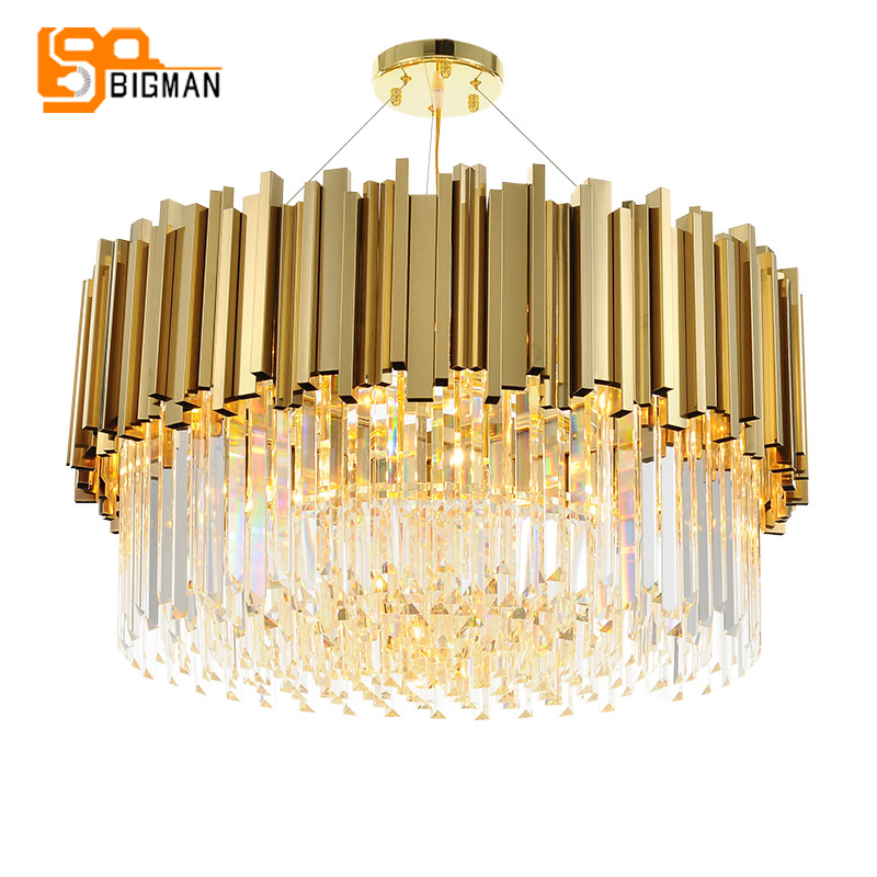 new luxury crystal chandelier lighting modern lamp for living room dinning room gold kristallen kroonluchter LED lights new luxury modern crystal chandeliers led living room chandelier lighting fixtures gold plated hanging lights with glass shade