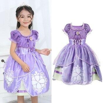 c9b55acf6 YOFEEL lindo Princesa Sofía Cosplay traje de verano vestidos de buena  calidad Fantasía Floral fiesta de Halloween Tutu niños vestido de bola