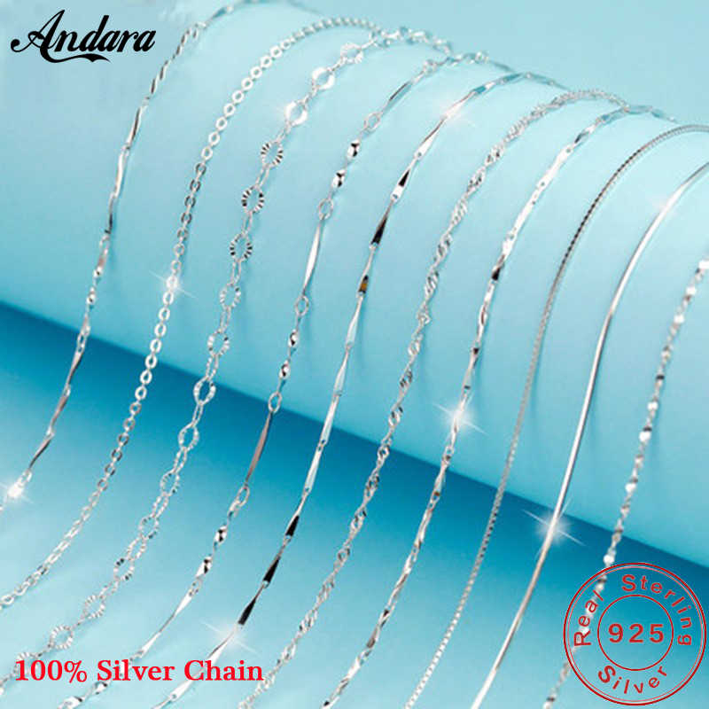 Classic Basic Chain Necklace 100% 925 Sterling Silver Lobster Clasp Adjustable Necklace 45cm Trendy Jewelry for Women