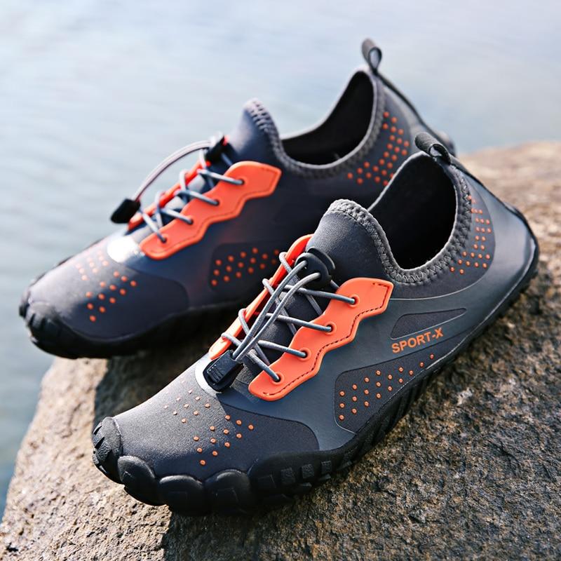 Outdoor Barefoot Upstream Shoes for Men Five Fingers Outdoor River Walking Sneakers Big Size 47 Sport Aqua Walking Shoes Man