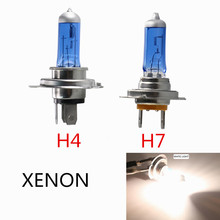 1pc Super bright White Halogen Bulb H4 H7 12V 55W 6000K White car light halogen xenon lamp bulb Car Styling Headlight Fog Lights
