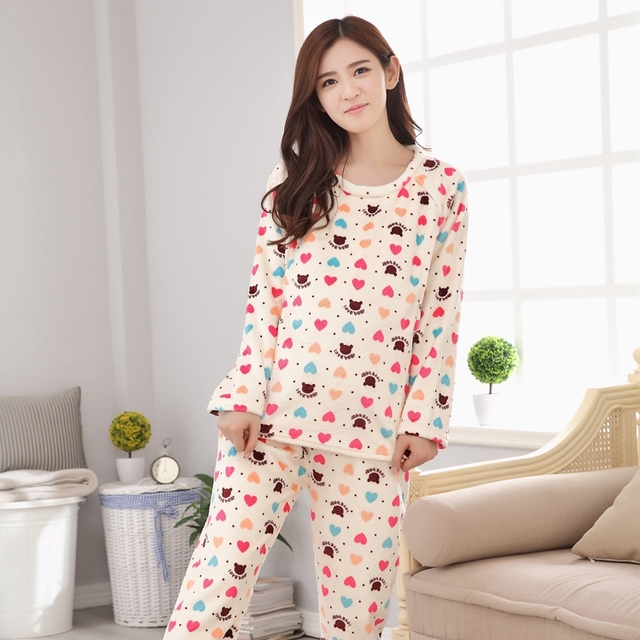 Winter Plus Thick Velvet Maternity Nursing Pajamas Set Breastfeeding Clothes Maternity Sleepwear Clothes for Pregnant Women B350