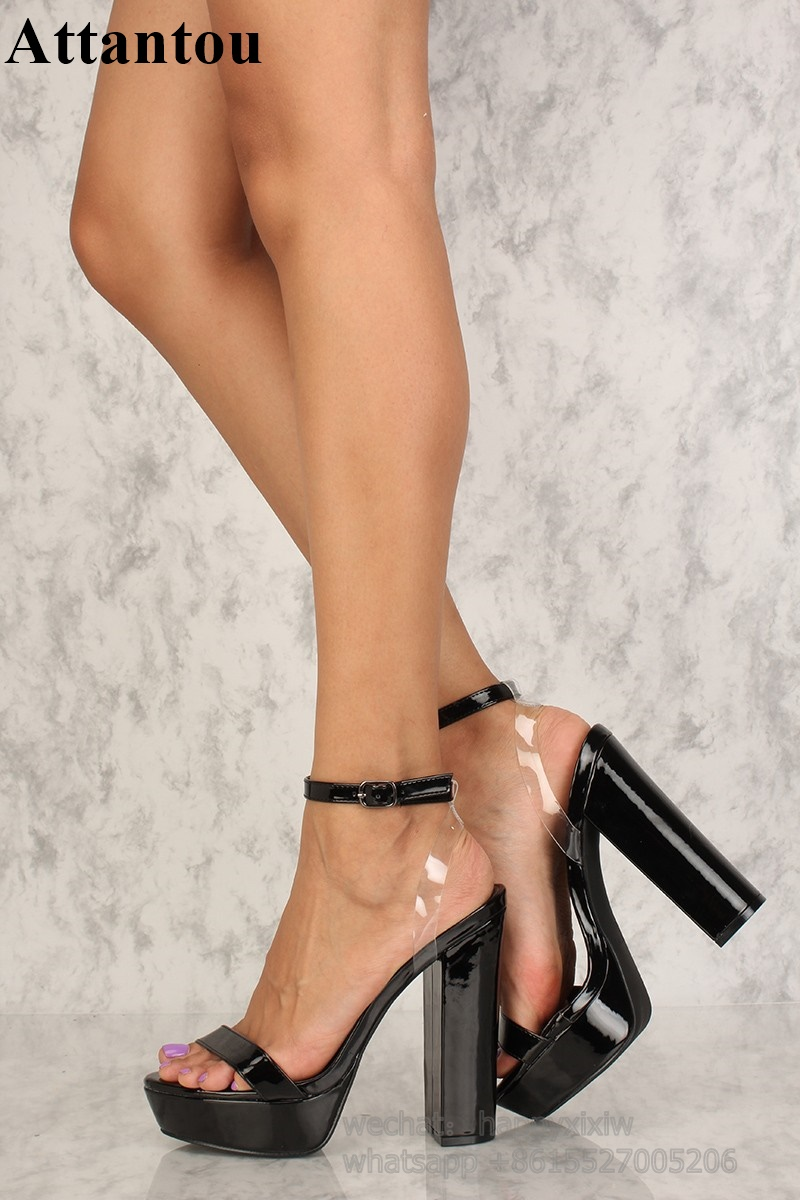 Black Patent Leather With PVC Designer Bold and Trendy heels Thick Platform Block Heeled Back Cut out High Heel Sandals Women - 3