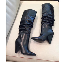 Высокий каблук женские ботинки кожаные длинные пинетки блеск кристаллов Украшенные сапоги до колена женские слипоны Chic туфли для ночного к