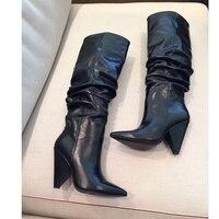 Женские сапоги на высоком каблуке; кожаные высокие сапоги; блестящие сапоги до колена с украшением в виде кристаллов; женская обувь без заст