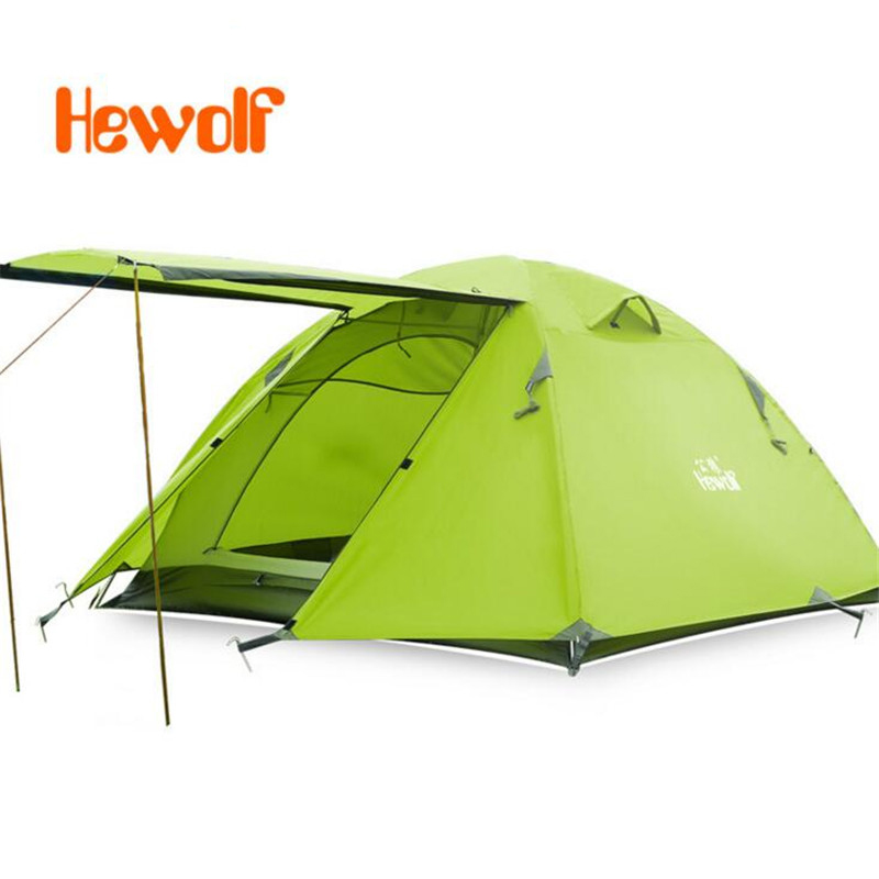 Hewolf 3-4 Person Outdoor 4 Season Tent Camping automatic Tent Portable Double-layer Dome Square large space Tent S177 good quality flytop double layer 2 person 4 season aluminum rod outdoor camping tent topwind 2 plus with snow skirt