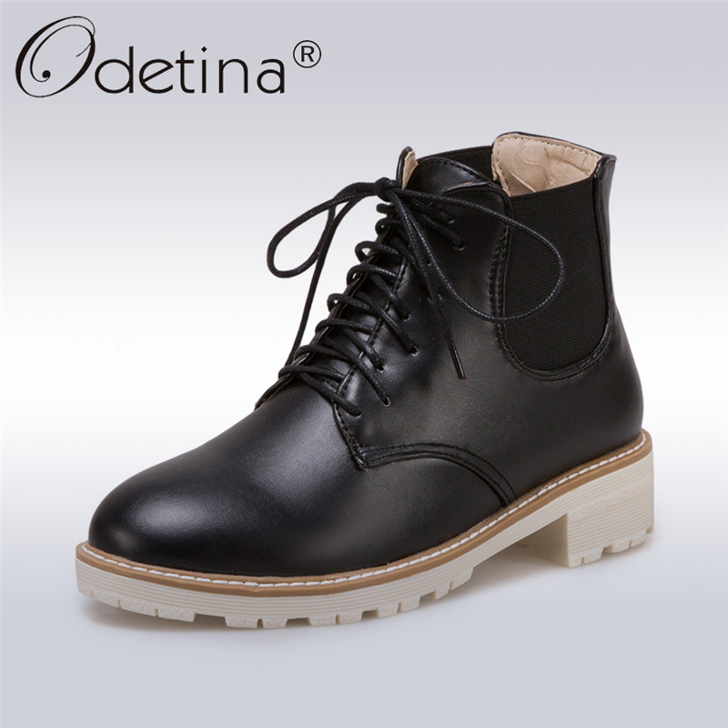 Odetina 2017 Fashion Lace Up Ankle Booties Chunky Low Heel Womens Chelsea Boots Platform Winter Warm Casual Shoes Big Size 34-43 sandals women summer suede 6cm female roman high heel wedges shoes