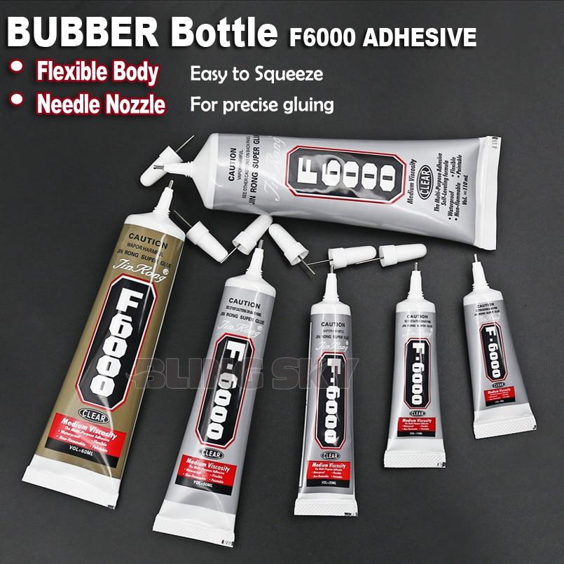F6000 rekommenderar! 9ml-110ml Needle Nozzle Adhesive Lim, klar gel multi purpose arbete för DIY nagel smycken kristaller rhinestones