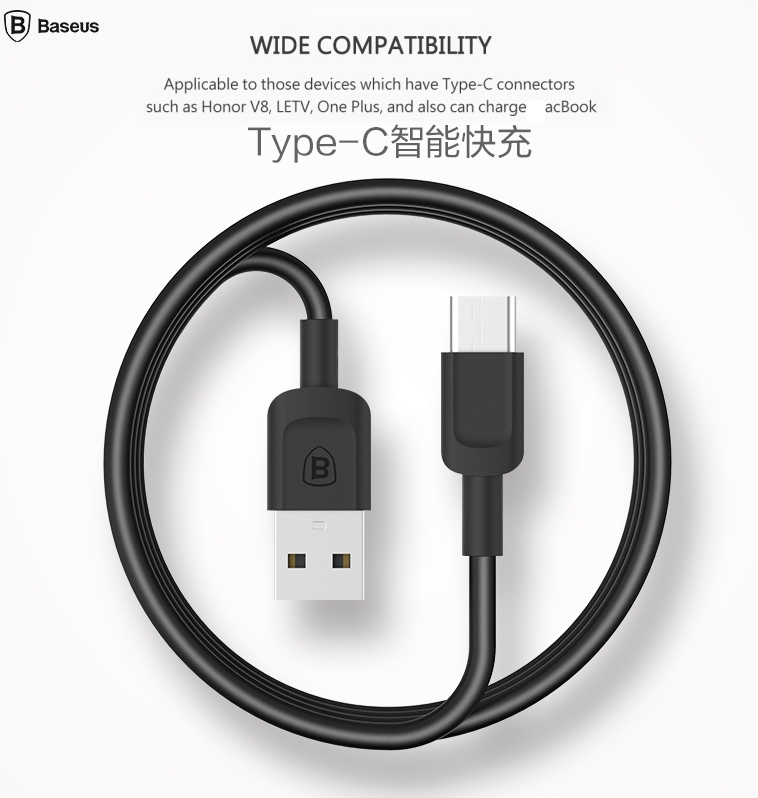 BASEUS Brand Zoole Series High Speed 3.0A Type-C Data USB Charging Cable Type C For Samsung Galaxy Note 7 /HTC M10/For Macbook