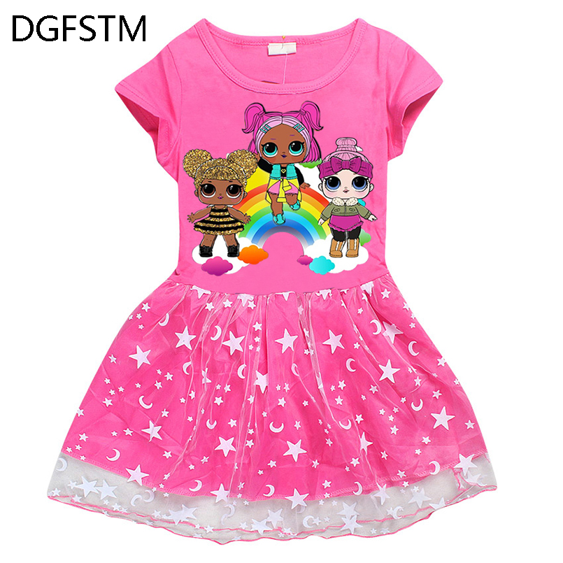 roblox baby girl Casual Short Sleeved round Ball Gown collar cartoon dress baby girl clo ...